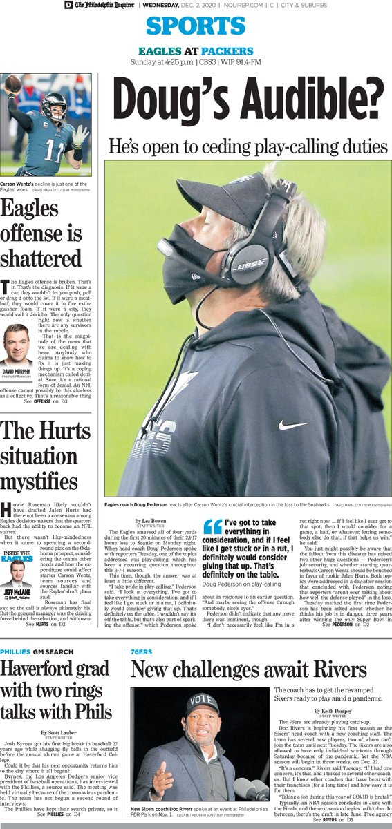 The #Philadelphia #Inquirer (@PhillyInquirer) sports front for Dec. 2   Subscribe:   #Eagles #FlyEaglesFly #GoBirds #AlwaysPhilly #Philly #Wentz #76ers #sixers #Phillies