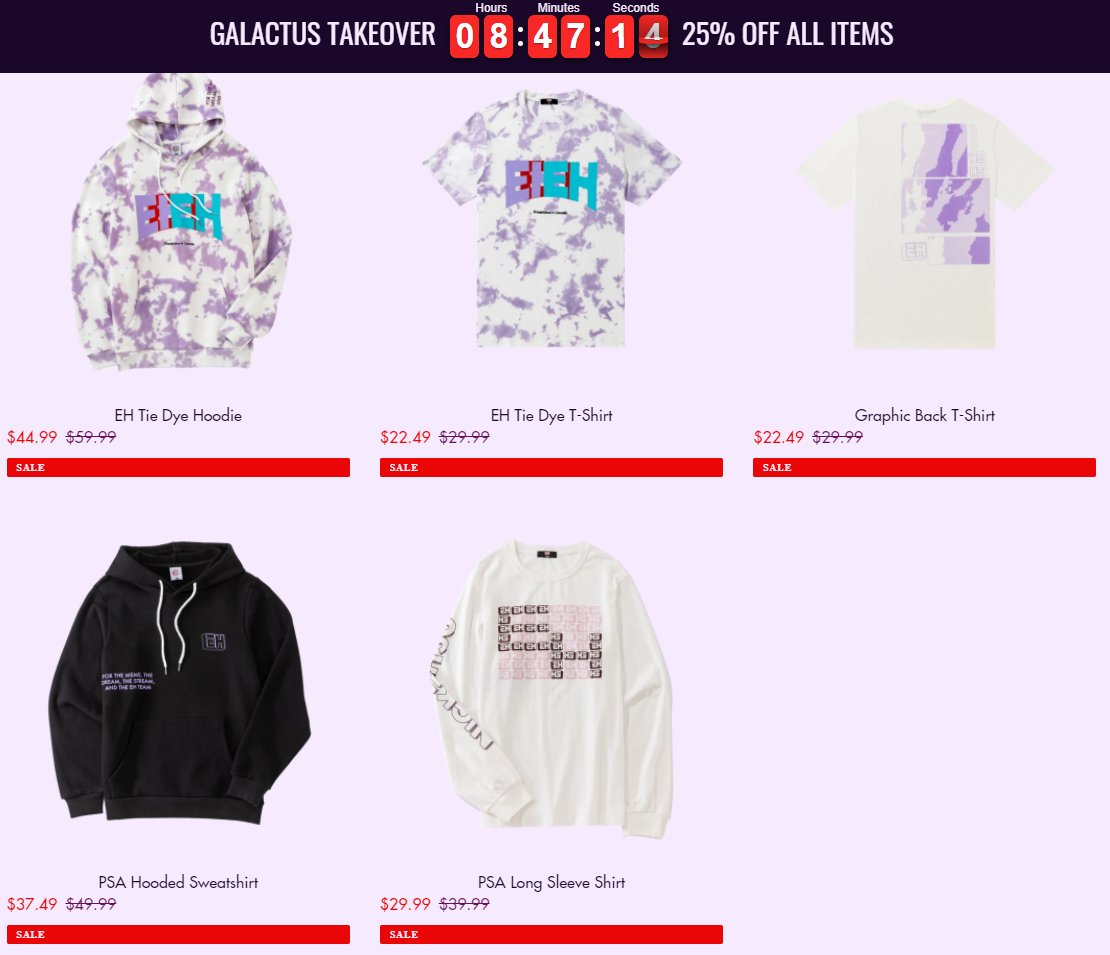 Hey Eh Team, my new merch that just dropped is 25% off on all items!  The sale is gonna last for 8 more hours until 3am EST on Wednesday!