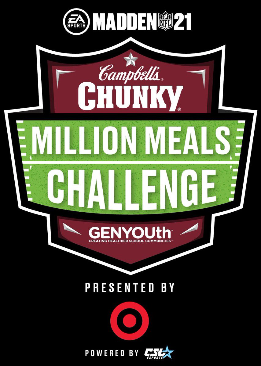 Want to be coached by a real NFL player? Check out the Chunky Million Meals Challenge presented by @Target – aMaddenNFL 21tournament launchedwith @GENYOUthnowthat benefits kids who rely on school meals every day. Visit ! #championsofchunky