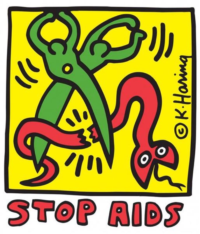 Keith #Haring – Stop #AIDS, 1989  #WorldAIDSDay
