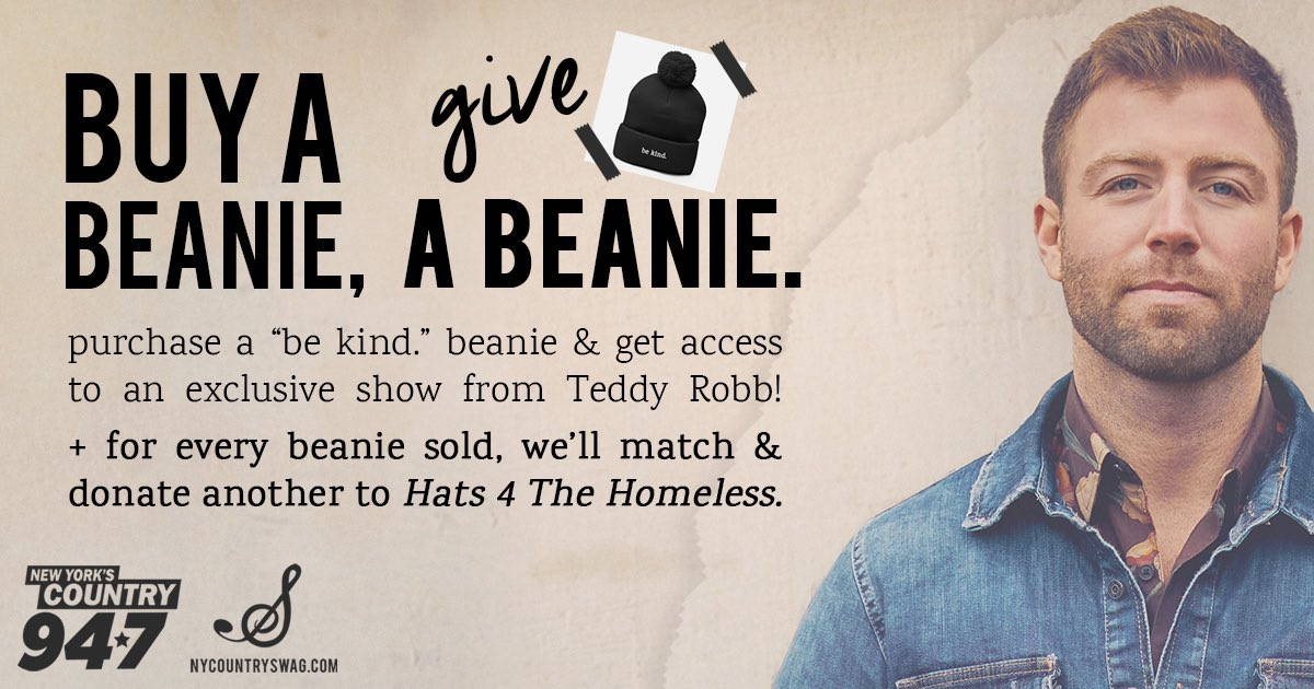 """I'm pumped to team up with @NYCountry947 &@NYCountrySwag to provide comfort & warmth to those in need thisholiday season! Purchase the """"be kind."""" beanie & you will get access to an exclusive show with me! For more info:   #BeKind #BuyABeanieGiveABeanie"""