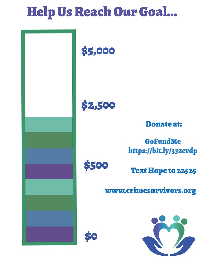 Help us Reach our $5,000 Goal for #GivingTuesday   Make your donation to Crime Survivors on GoFundMe at  or at
