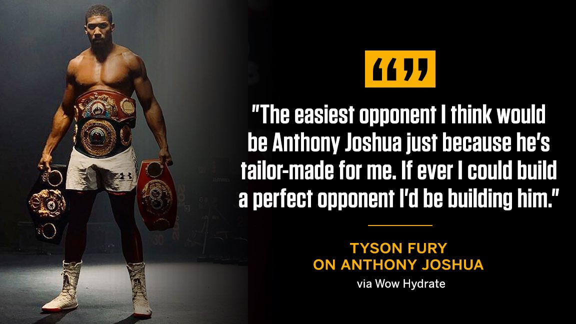 Who's the easiest opponent for @Tyson_Fury? He says it's Anthony Joshua 👀