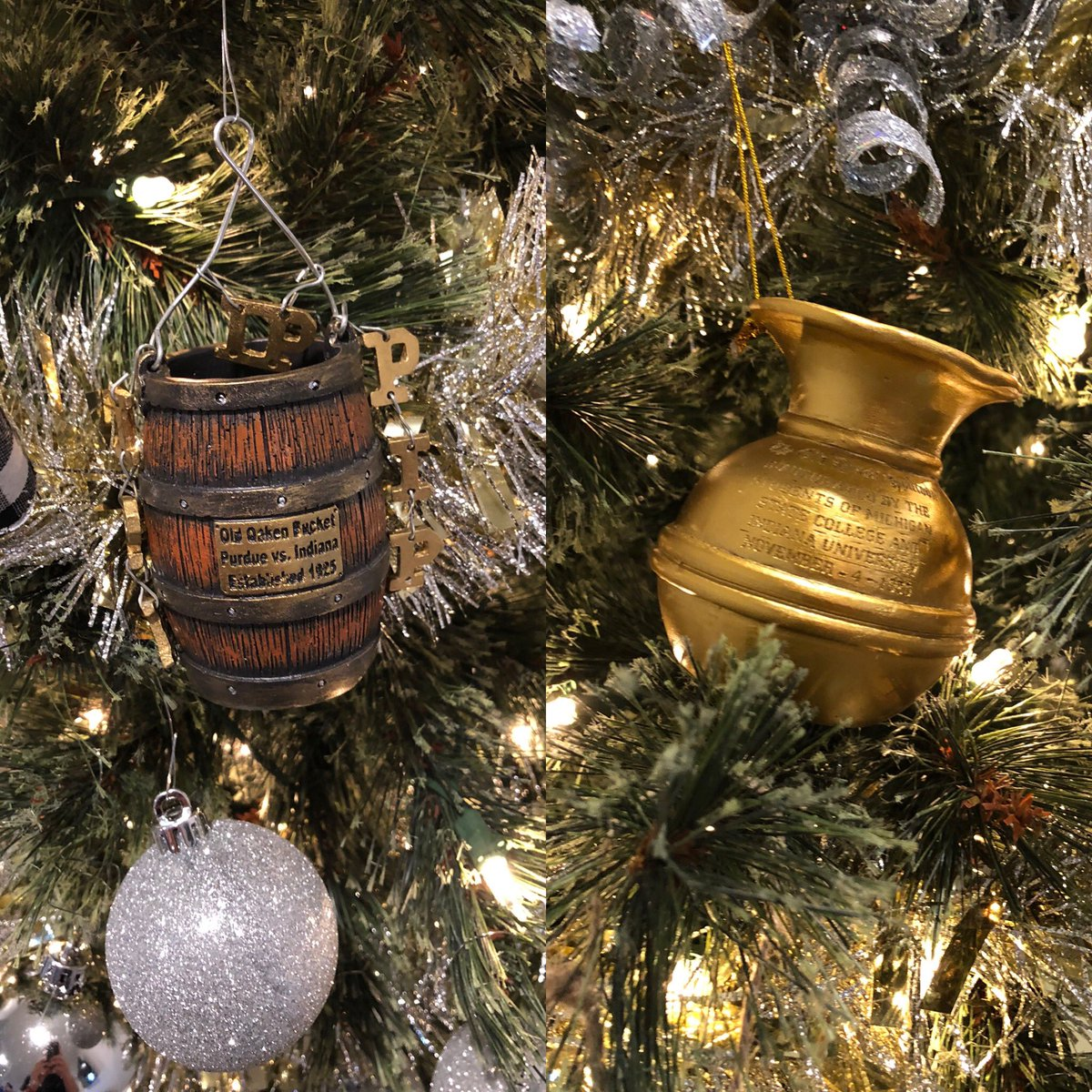 Look at these beauties I've added to the Christmas tree this year! Every year we keep the rival trophies, they will stay on the tree, so let's keep these on every year! #OldOakenBucket #OldBrassSpittoon #iufb @IndianaFootball 🔴⚪️🏈🎄