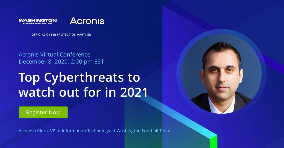 Don't miss your chance to hear from #CyberFit expert Asheesh Kinra on Dec 8 as he shares the @WashingtonNFL's playbook for future #cyberthreats.  Register for our upcoming virtual conference today:   #RiveraStrong #CyberProtectCloud #ProtectYourEdge