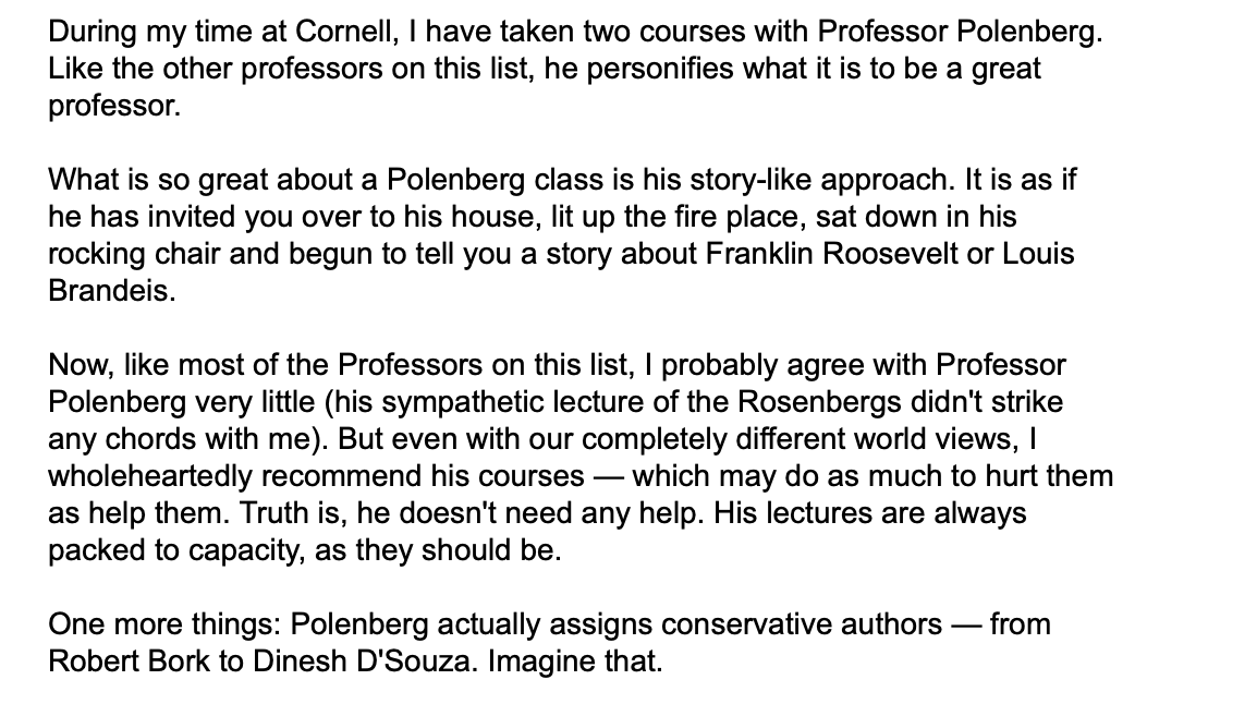 For one of my @cornellsun columns, I did a write up of the 5 best professors I had at Cornell. Polenberg was definitely on the list.