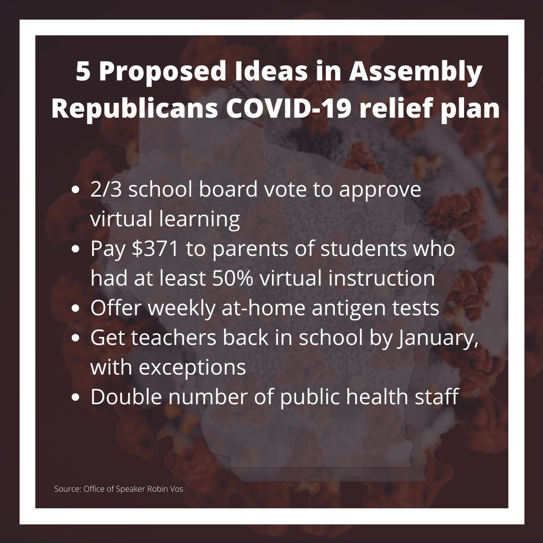 Assembly Republicans released a package of initiatives Tuesday that they believe would help the state address the COVID-19 health crisis. Here are a few of the proposed ideas: