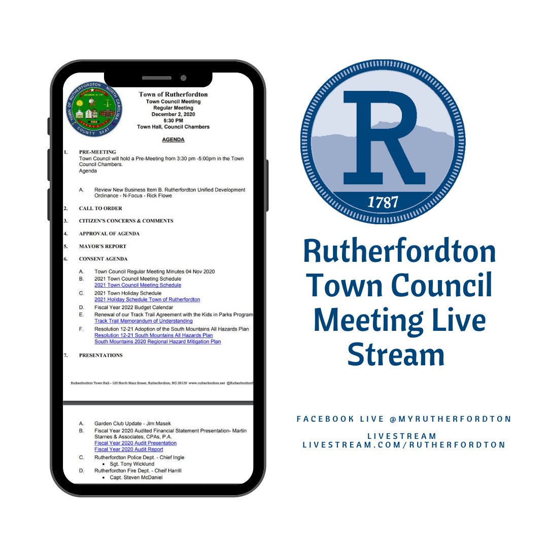 Join us for the December 2020 Town Council Meeting. Meetings are held at Town Hall – 129 North Main Street and are also live-streamed via Facebook @MyRutherfordton or via our Livestream Channel below. For the full agenda of the meeting click here: