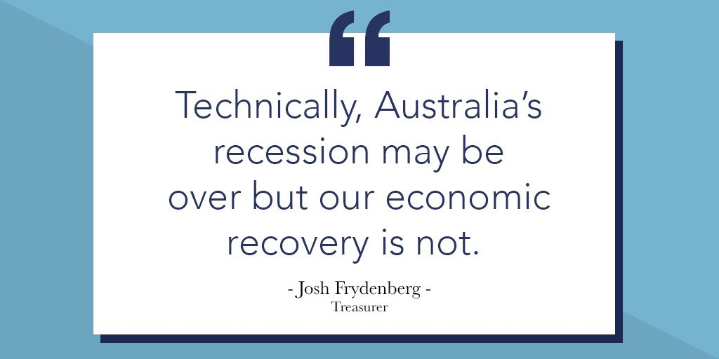 Australia's economy is coming back. Today's National Accounts show the largest quarterly increase in GDP since 1976. The road ahead will be long & hard, but our economy has demonstrated its remarkable resilience & the recovery is underway.