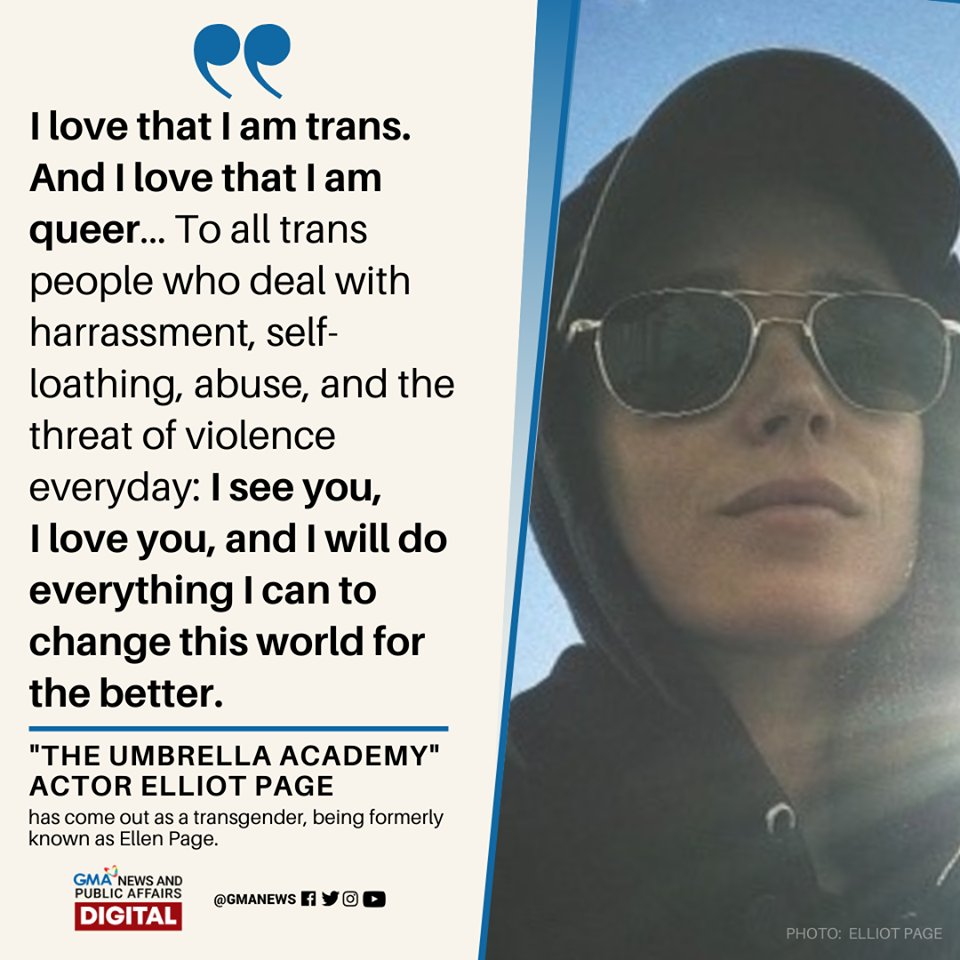 Elliot Page Comes Out As Transgender Non