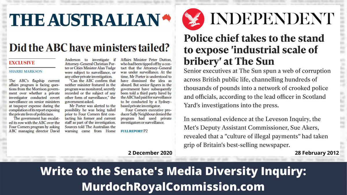The Murdoch media fuels LNP outrage at ABC #4corners for allegedly hiring a private investigator (they deny it). Has NewsCorp forgotten its own record of hiring private eyes, bribing police & hacking into peoples phones? Murdoch has a PhD in hypocrisy. #MurdochRoyalCommission twitter.com/mrkrudd/status…