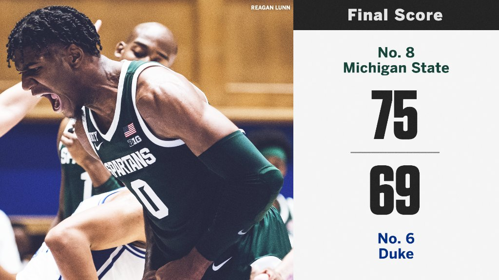🚨 No. 8 Michigan State takes down No. 6 Duke 🚨  The Spartans get their first ever win at Duke.