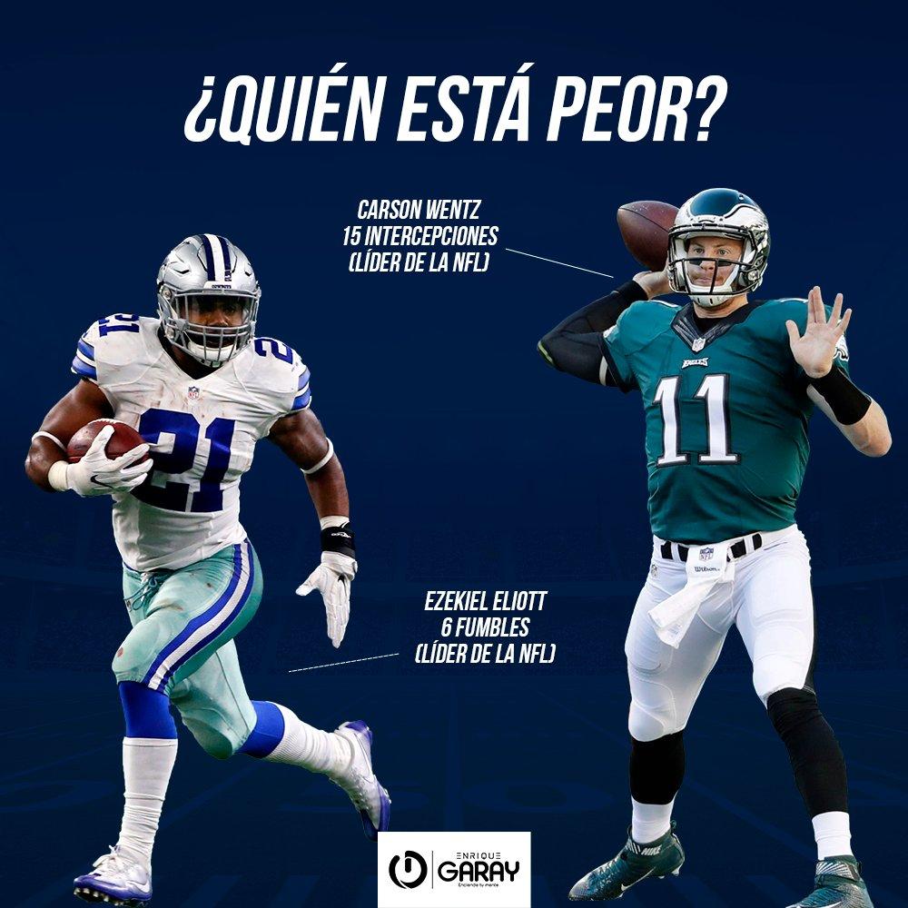 🤦♂️ ¡Para llorar!  Los líderes de fumbles y de intercepciones están en la misma división, pero díganme, amigos... 👀  ¿Quién está peor? 🏈❌  #CarsonWentz #EzekielElliott #FlyEaglesFly #DallasCowboys #NFL