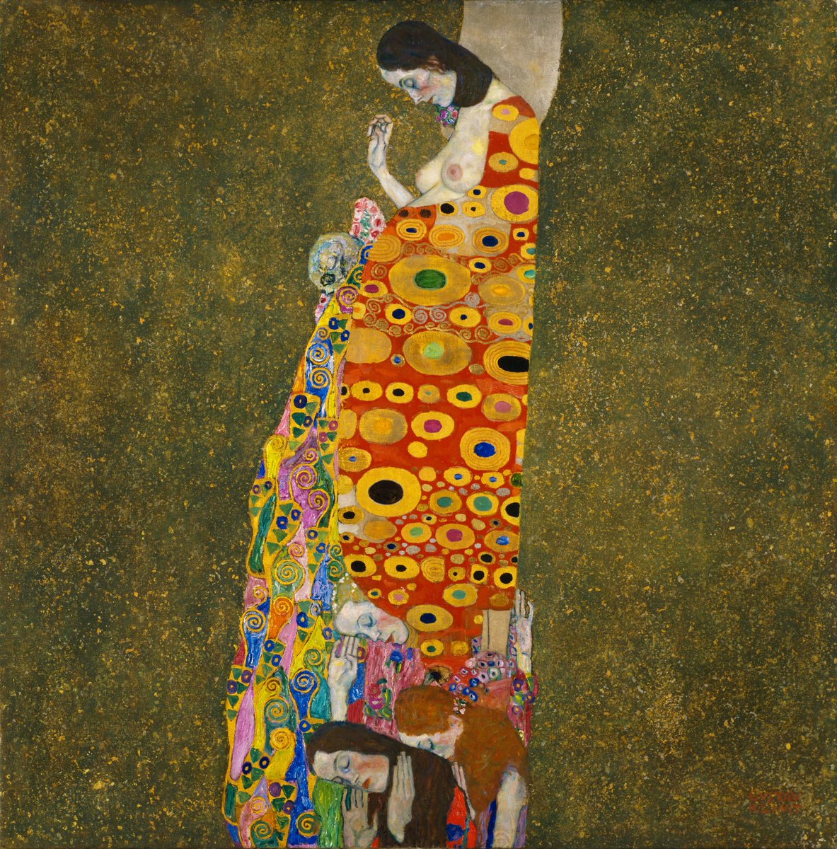 """""""Hope II, 1907–08, Museum of Modern Art"""" Gustav Klimt (July 14, 1862 – February 6, 1918) was an Austrian symbolist painter and one of the most prominent members of the Vienna Secession movement."""