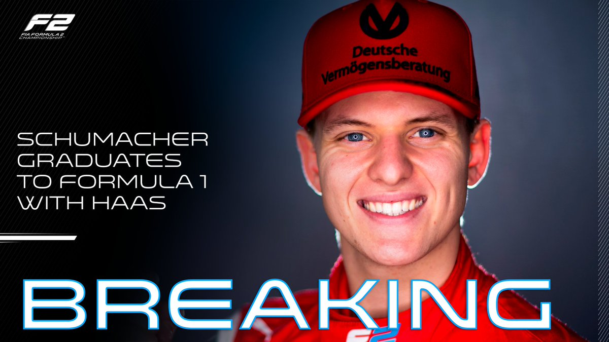 BREAKING: Mick Schumacher will race in @F1 next year!   Our championship leader graduates to @HaasF1Team for the 2021 season 🎓👏  #F2 #RoadToF1