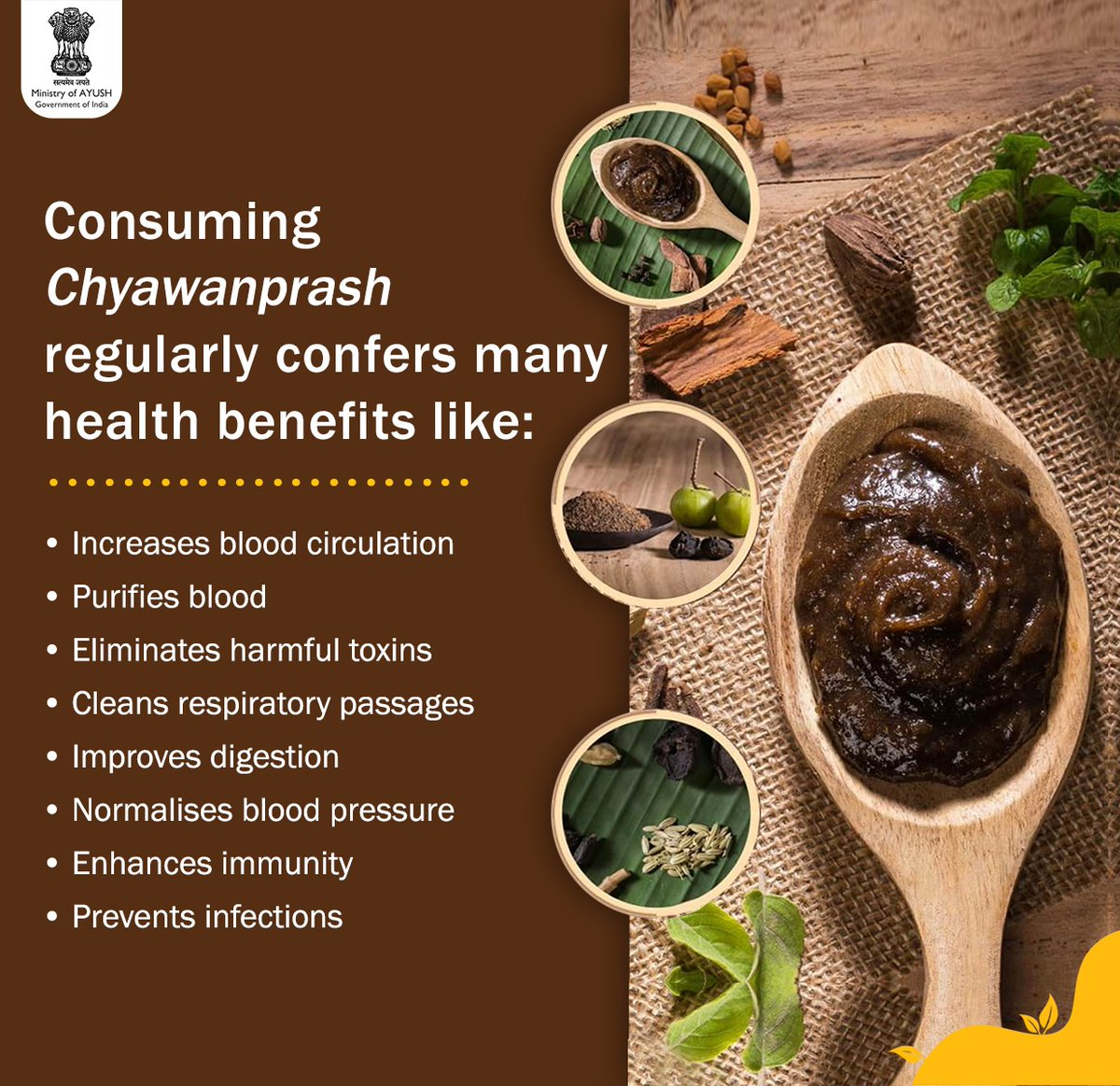 Chyawanprash from #Ayurveda is an age-old powerful formulation that aids the body in the production of haemoglobin and white blood cells.   Its main component #Amla, is a fruit known for its antioxidant properties.