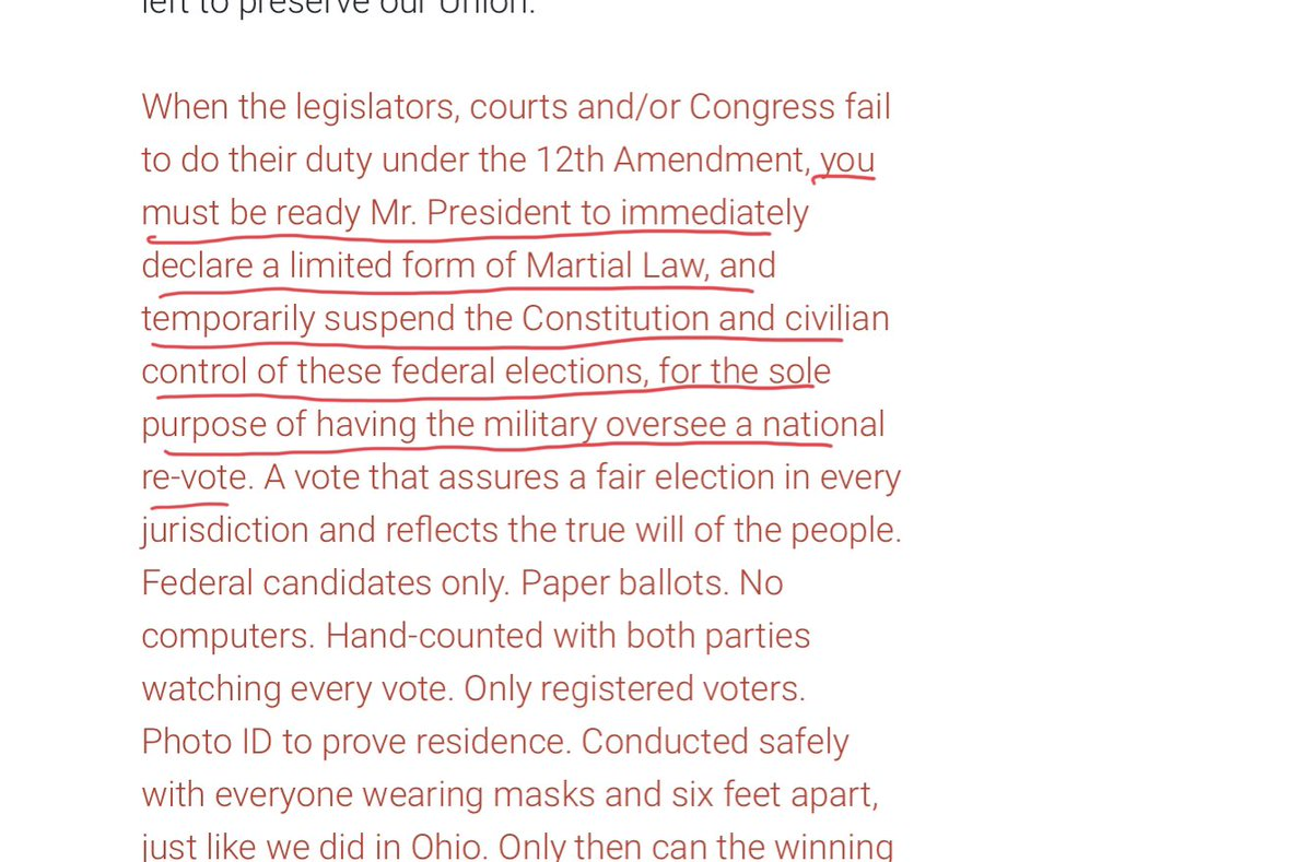 Here's from the manifesto Gen Flynn tweeted and endorsed, calls on Trump to declare martial law and suspend the constitution, then have the military hold a new election. https://t.co/Jo4OsczqEV