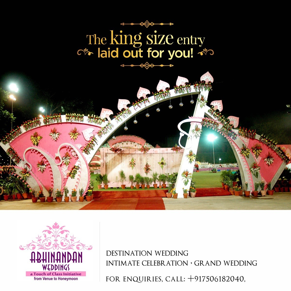 Mark a royal entry at your wedding! We arrange huge entry gates, well decorated and lit to add glitters at your event.  #abhinandanweddings #mumbaiwedding #delhiwedding #punewedding #weddinggoa #weddingbanglore #weddingkolkata #wedding #dreamwedding #plan #shadi