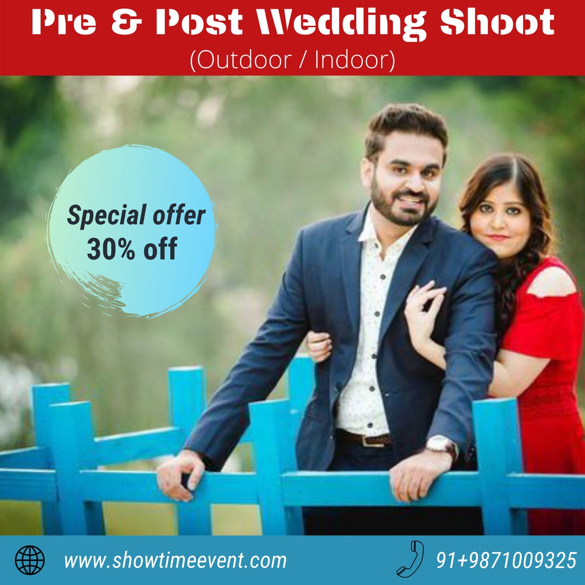 Flaunt everything about the wedding of your dreams be it the beautiful invitations or photographs with yourloved ones.  Book your shoots with showtime event Pre wedding & Post wedding shoots  For more details on the offer, call us on 9871009325 or DM us!!  #prewedding #wedding