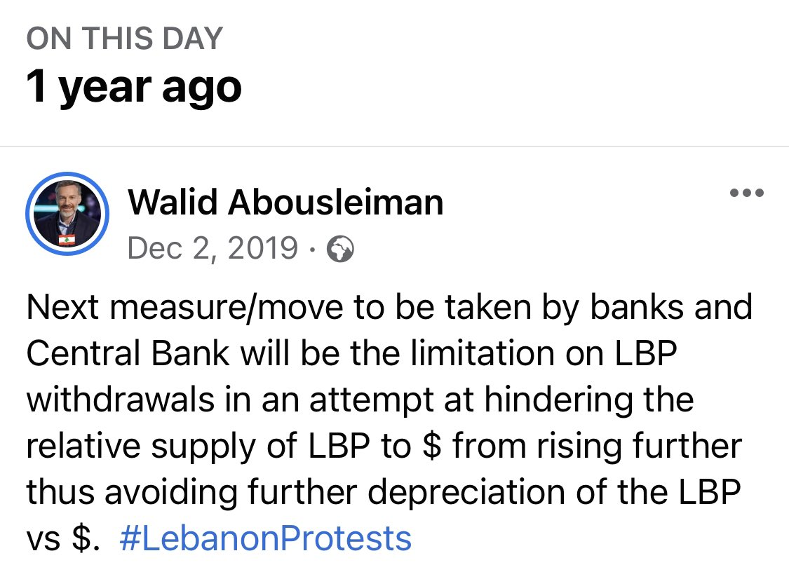Warned about it a year ago. We could have seen it coming! Yet they kept on printing and kicking the can to the extent of triggering a hyperinflation and a dollar trading as high as 8,000.  #lebanon #لبنان #التدقيق_الجنائي