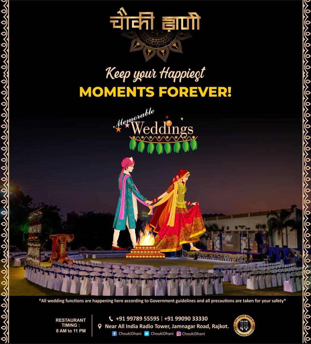 Keep your Happiest MOMENTS FOREVER!  Call on: 9978955595  #choukidhaniresort #rajkot #wedding #weddingday #weddinginspiration #function #weddingplanner  #engagement #weddingideas #weddingdecor #destinationwedding