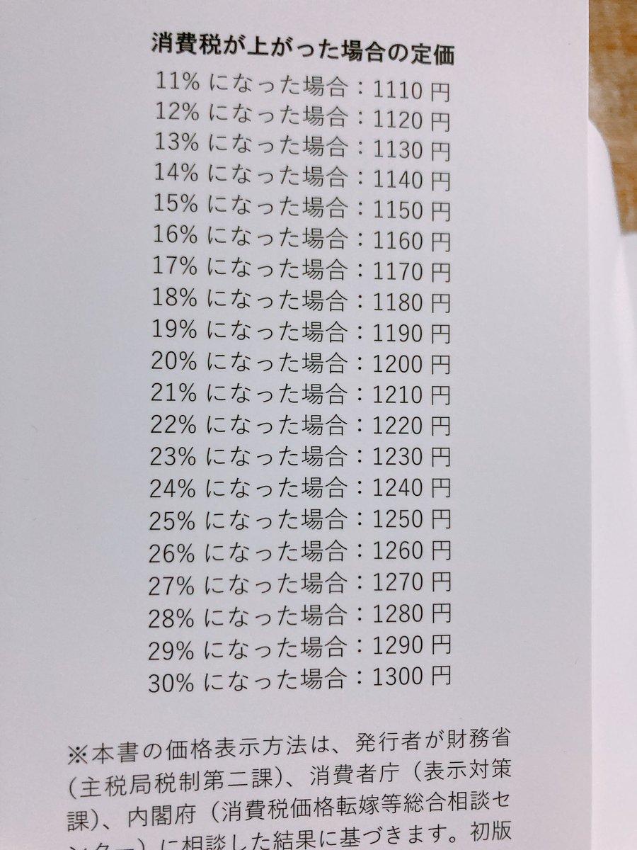 先日買った本が消費税が値上げされても今後10年くらいはカバーの刷り直しをせず売り続けられる完璧な対応済みだった。