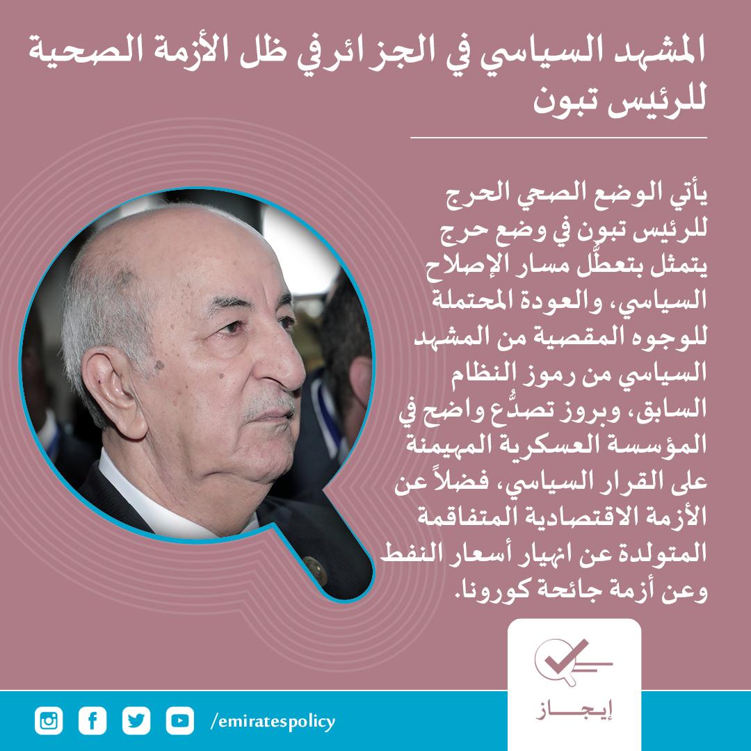 المشهد السياسي في #الجزائر في ظل الأزمة الصحية للرئيس تبون #إيجاز #مركز_الإمارات_للسياسات