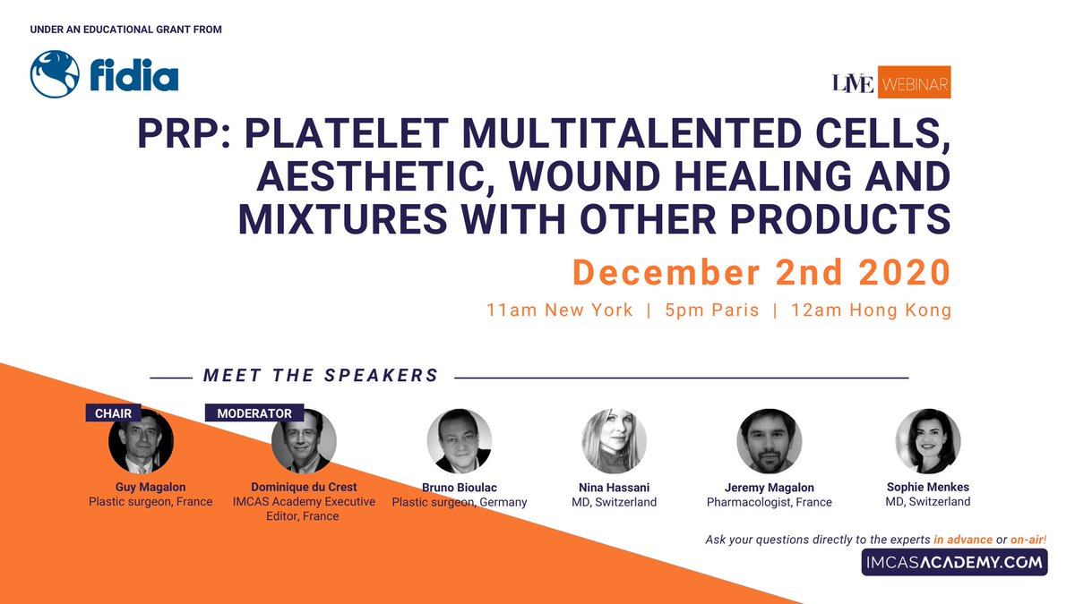 "- LIVE WEBINAR TODAY - December 2 at 5PM (Paris time)  Join us TODAY at 5PM on IMCAS Academy for the LIVE webinar on ""PRP: Platelet multitalented cells, aesthetic, wound healing and mixtures with other products."" Register & watch for free 👉 https://t.co/f7uL15gWTN https://t.co/RudNPwBTTv"