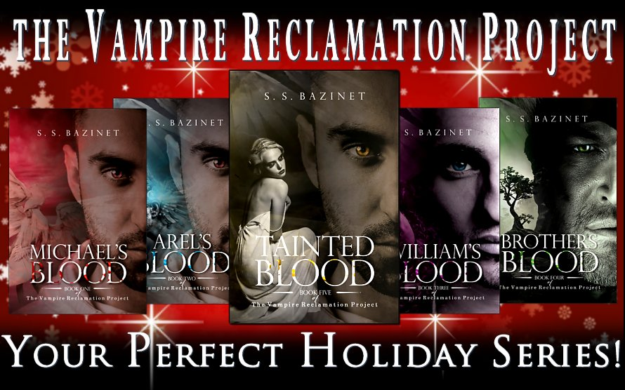 """THE VAMPIRE RECLAMATION PROJECT is a great gift!  Five Book Series from @ SSBazinet! Enticing page-turner that has you wondering if Arel's soul can be saved.""""  IAN1 ASMSG #books ebooks Kindle giftideas KindleUnlimited scifi metaphysical# stockingstuffers"""
