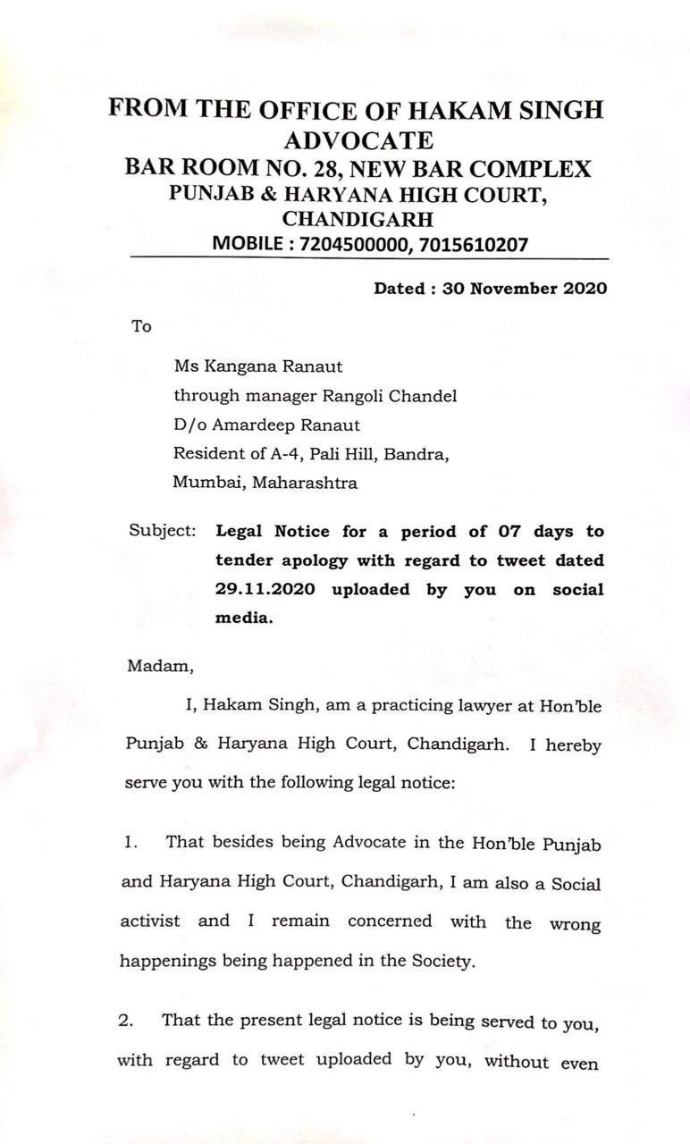 Farmers Protest: Legal notice against Kangana Ranaut for fake tweet identifying old woman at the protest site as Shaheen Bagh 'Bilkis Dadi'.