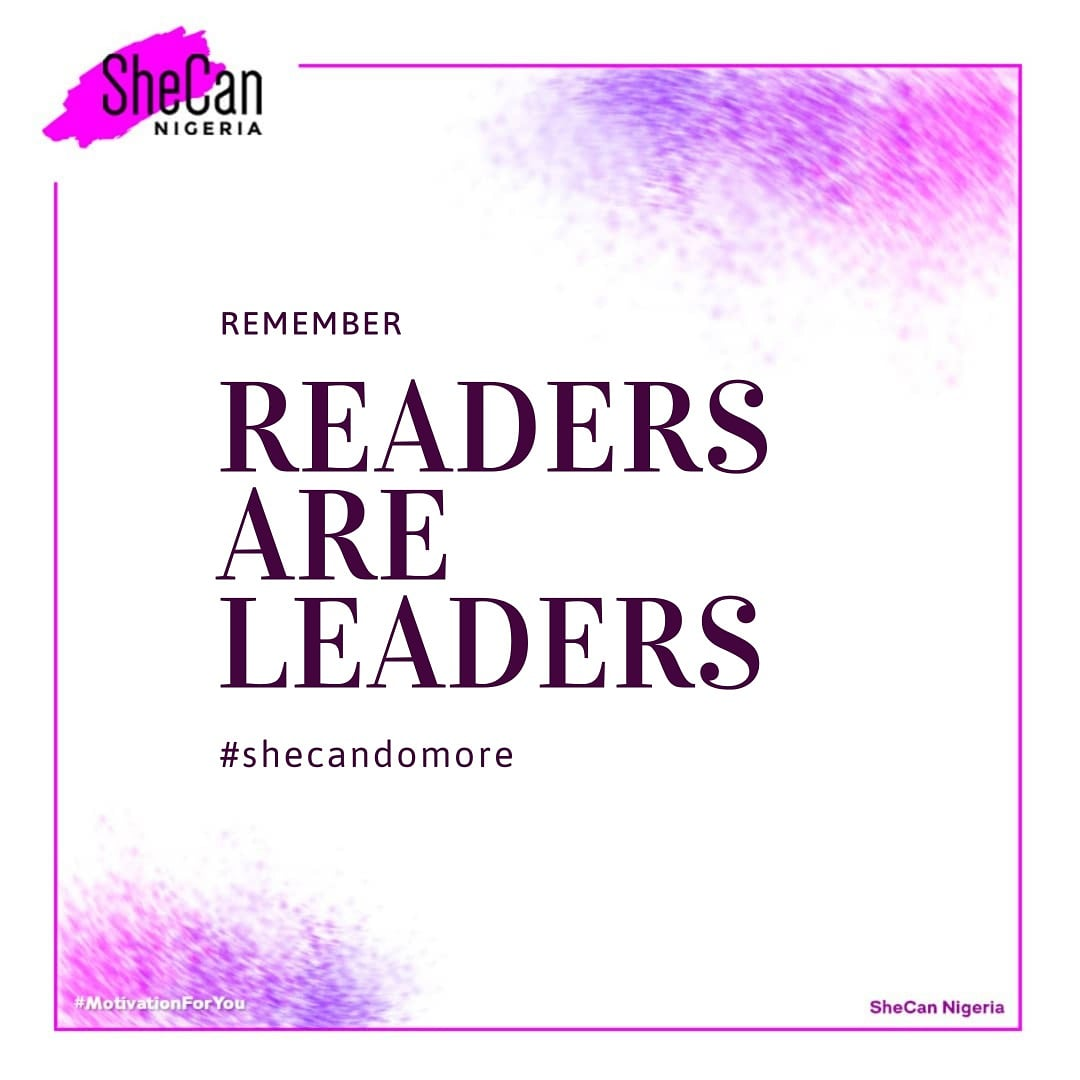 """""""She read books as one would breathe air, to fill up and live"""".  -- Annie Dillard   Readers are leaders they say.   Strong women are not just born, they thrive to be great and one of the ways you can be great is reading uplifting books. • • #Shecandomore #shecannigeria #books"""