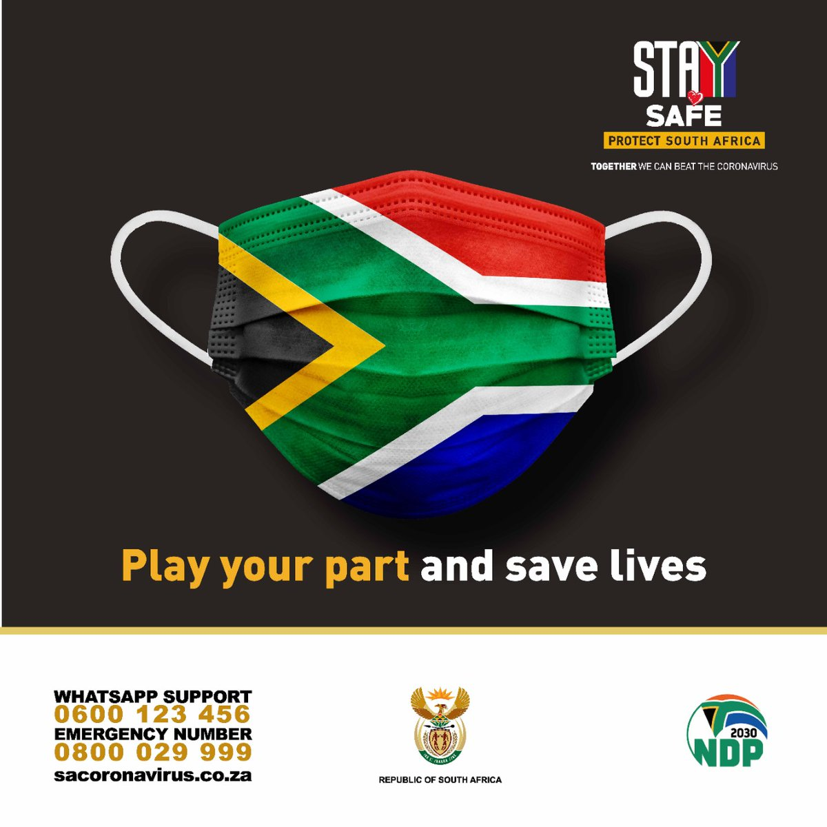 Good morning South Africa.  Don't forget to wear your mask, keep to social distancing and wash or sanitize your hands. #COVID19 is still with us. #StaySafe