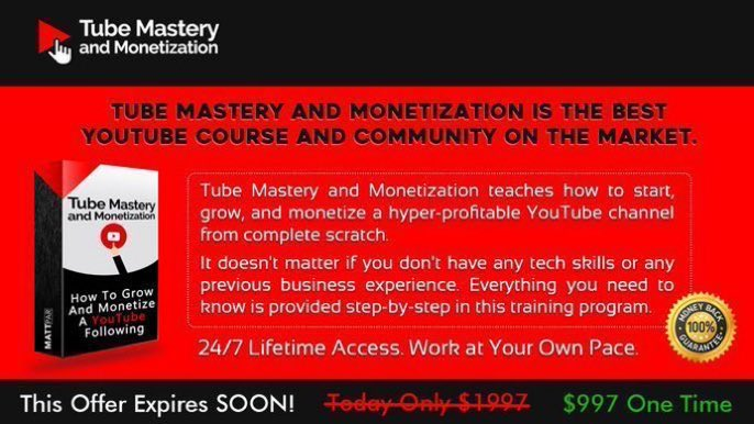 Tube Mastery and Monetization is the best YouTube course and community on the market. For More Click Here :   #Business #Marketing #YouTubers  #SocialMedia #Covid_19 #InsiderTraitors #ESPGER #USA #UK #Canada #TheBachelorette  #BigSky #CLUBFRISCO #ThisIsUs