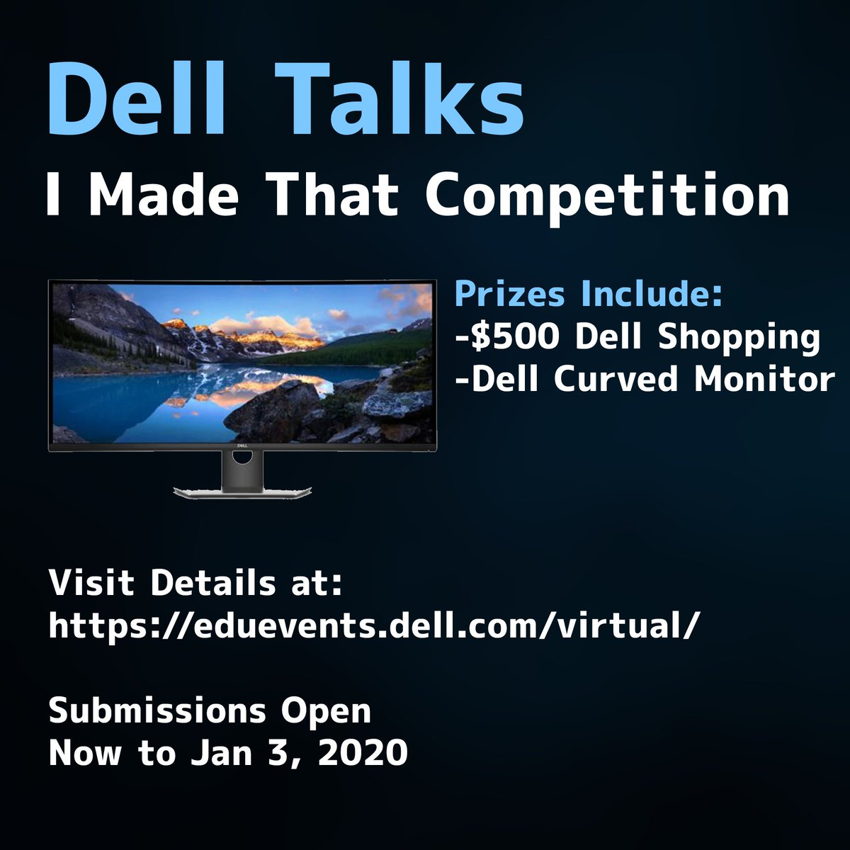Win a Dell Curved Monitor through Dell's I Made That Competition! Go to https://t.co/N4s1w7sn3I for details. #contest #alienwarepartner https://t.co/R0ZnafwNzP
