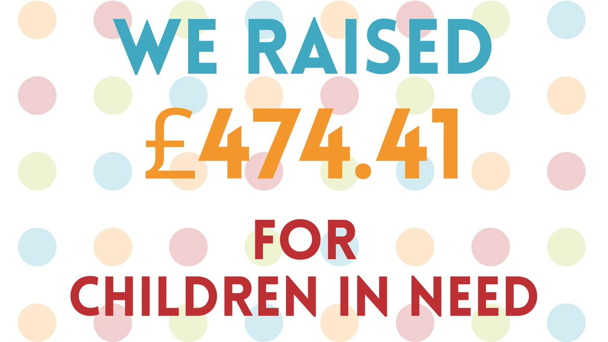 🤩 CHILDREN IN NEED TOTAL 🤩  We are very pleased to announce that we have raised a massive £474.41 for @BBCCiN!  Thank you to all of the staff, students, parents & carers for all of their support for such a worthy cause!  #Charity #ThankfulThursday #ChildrenInNeed