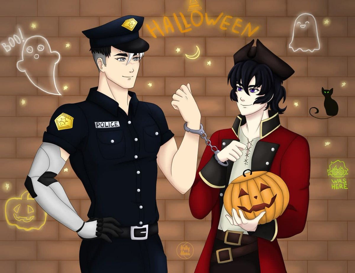 I've been waiting for a month for my acc*unt to be unbl*cked! I understand that very late, but ... here's my artwork...  #halloweenvld #halloween2020 #sheith #takashishirogane #keithkogane #vldshiro #vldkeith #voltron #VLD https://t.co/cJ5w3Sc5MX