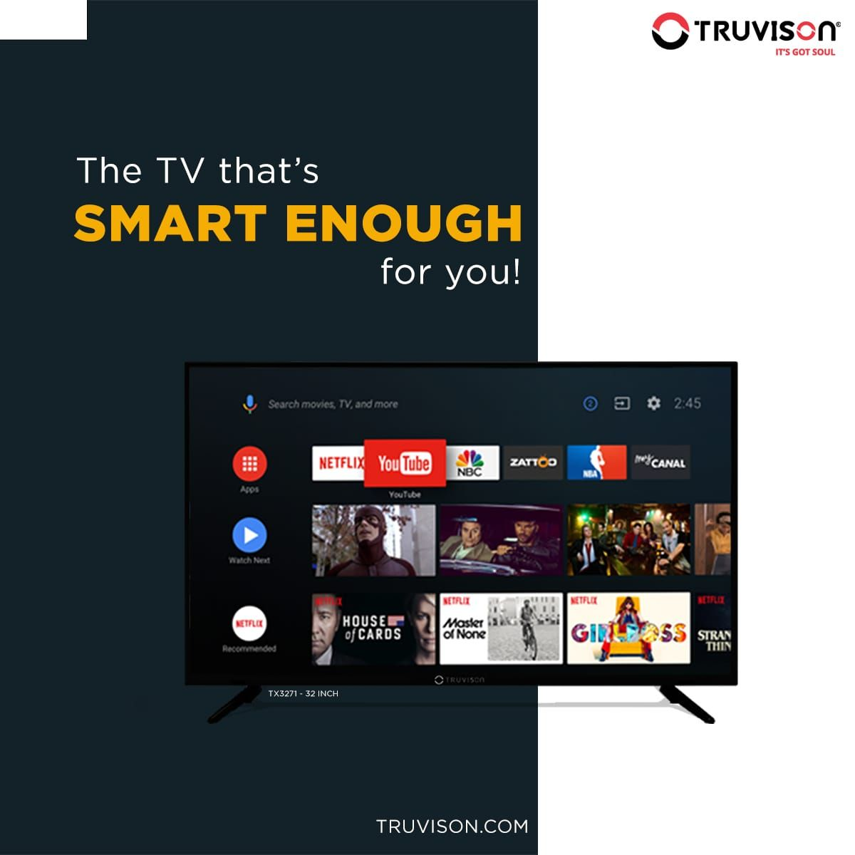 Its time you find a TV to match your demands, with mesmerizing display panels and the android platform to power it we deliver you the best of both worlds.  #TV3271    #Truvison #TruPrice #Value #Quality #SmartTV #WednesdayWisdom #WednesdayThoughts