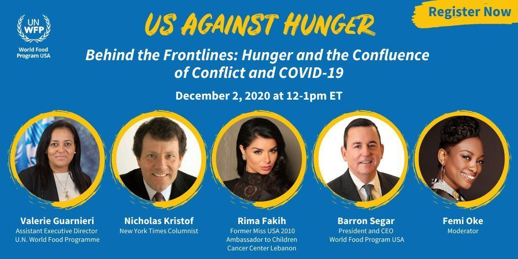 When was the last time a Nobel Peace Prize Winner invited you over for a chat? Today!  You're invited to the @WFPUSA #USAgainstHunger conversation on hunger, conflict, COVID-19 and WFP's lifesaving mission. Dec. 2 at 12 pm ET. Register for free. https://t.co/I9HgkdOBCZ https://t.co/qZKE0mXZh0