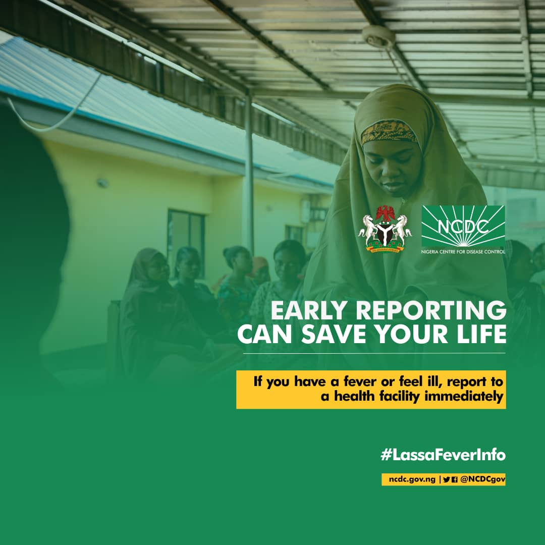 #Lassafever presents with symptoms similar to those of many illnesses like malaria. Symptoms include fever, muscle aches, sore throat, nausea and vomiting. Report to a health facility for diagnosis if you experience these symptoms. Early reporting saves lives.