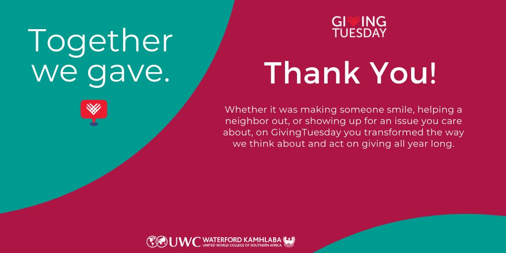 Giving is not about making a donation. It is about making a difference. Thank you for unleashing generosity through all your support for Waterford Kamhlaba during #GivingTuesday.  #UnleashGenerosity #WeAreKamhlaba
