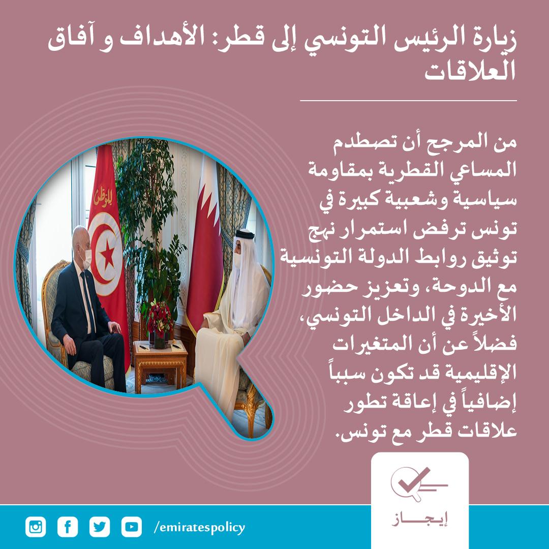 زيارة الرئيس التونسي إلى #قطر : الأهداف وآفاق العلاقات #تونس #إيجاز #مركز_الإمارات_للسياسات