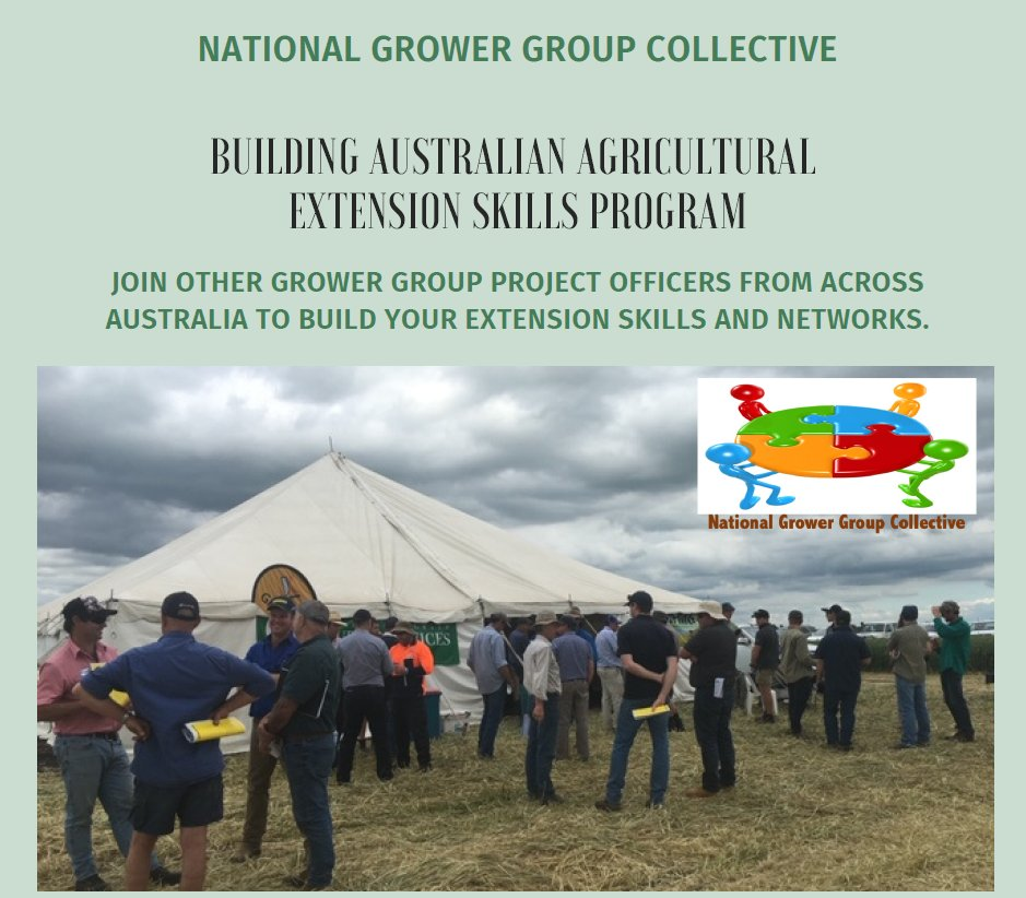 WA participants have shown their commitment to capacity building, filling a hefty 18 of 24 places in the first cohort of an Australia wide extension skills training program. 16 WA Grower Groups are registered in the WA cohort, training launches Feb 2021. https://t.co/CaFwj0SgHs https://t.co/8Ej0iovjX6