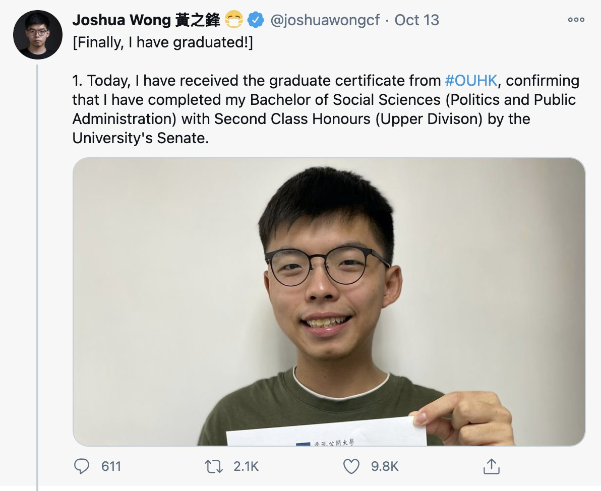 Thinking of how Joshua Wong & Agnes Chows paths tell a bigger story about their generation in Hong Kong. Weeks ago they both proudly announced having finally graduated from college/attended their ceremony (after years of juggling activism w. their studies). Today they go to jail