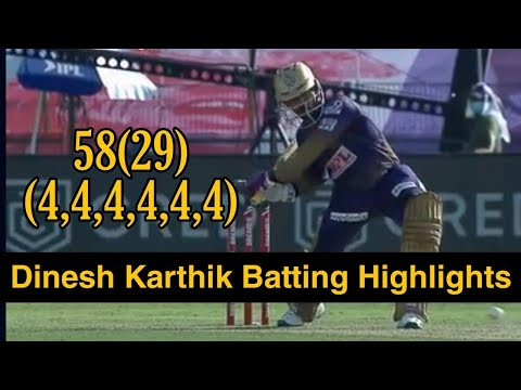 Dinesh Karthik's DYNAMIC 58 (29) – Brilliant batting from the KKR captain. Played his shots to all parts of the ground and took his side to a respectable total. #Dream11IPL #CricketYourWay ...