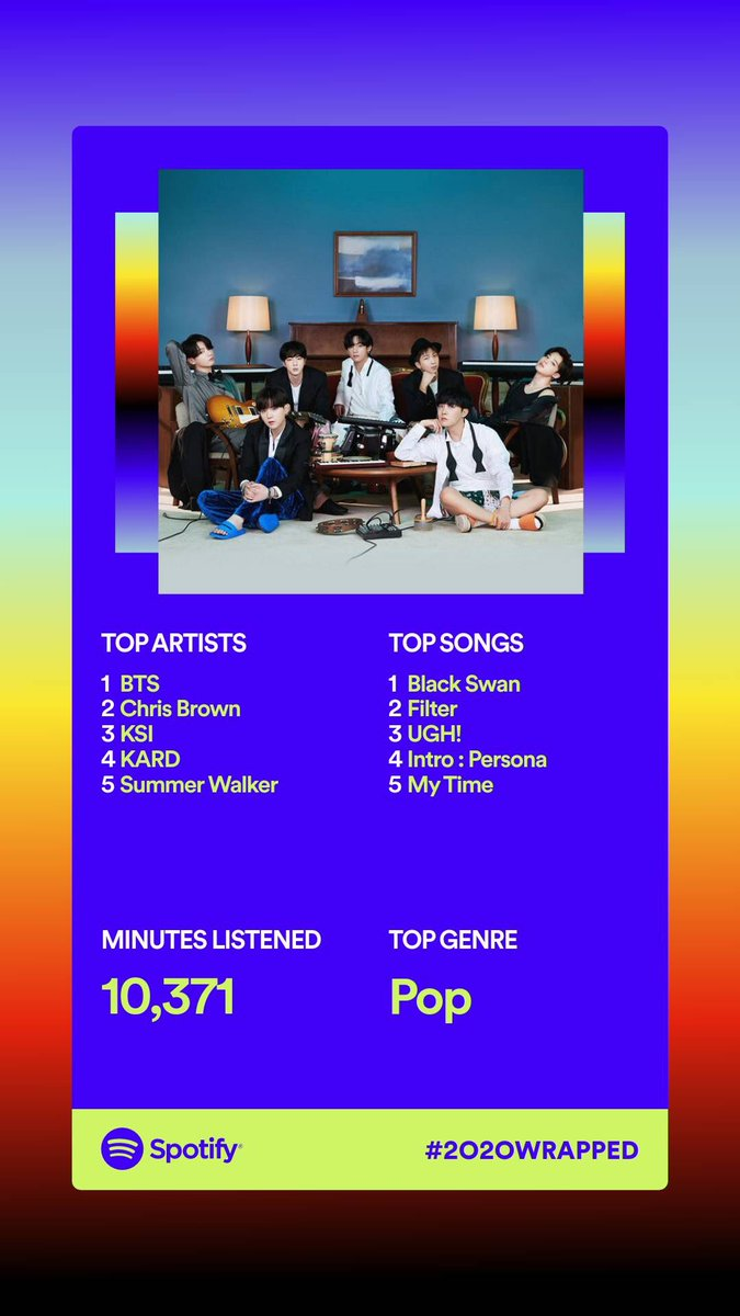BTS being my top artist and Black Swan being my top song. AS IT MF SHOULD!!🤩🦆💕🤚🏽 @BTS_twt #SpotifyWrapped #QuaranteamBTS