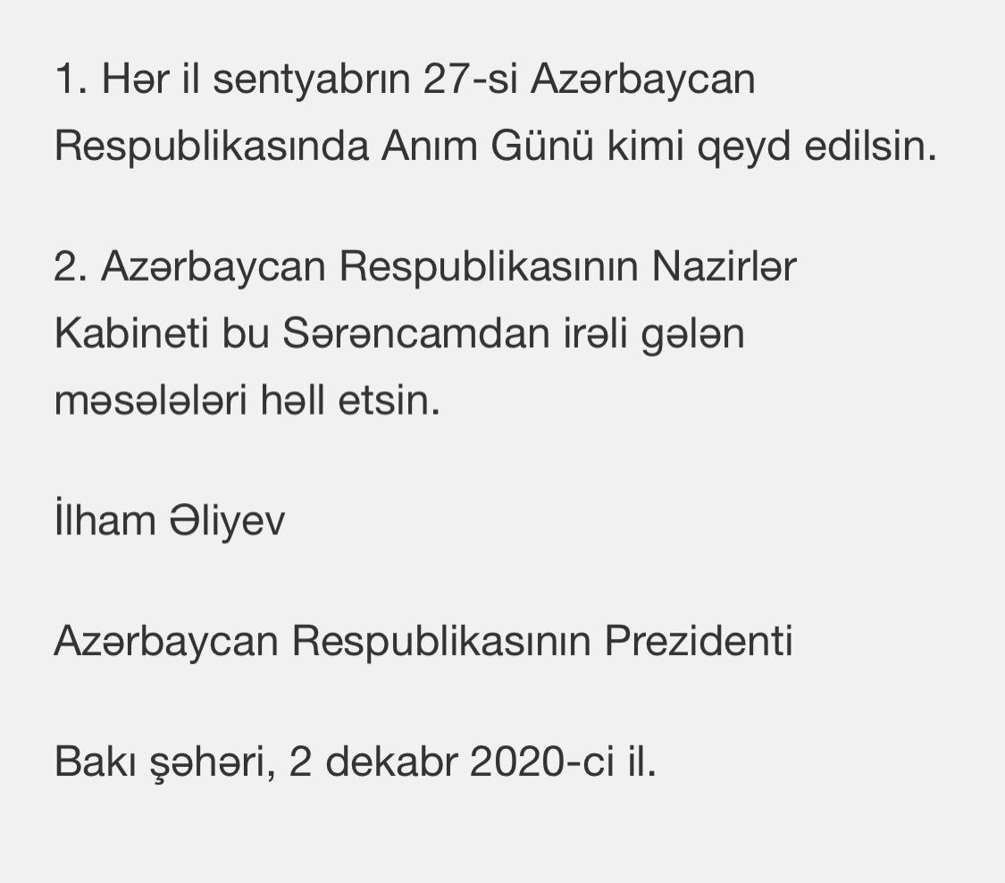 🇦🇿Hər il sentyabrın 27-si Azərbaycanda Anım Günü kimi qeyd ediləcək. #OMM2020 #KarabakhisAzerbaijan