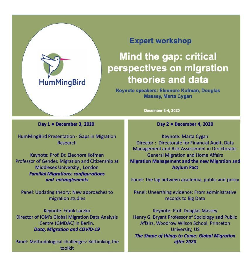 Join the Expert workshop 'Mind the gap: critical perspectives on migration theories and data' organised by our sister project @H20_HumMingBird. It will be live streamed ! https://t.co/gBKX6RDf0W 🧐 And our Jakub Bijak will be sharing exciting news on the QuantMig project!