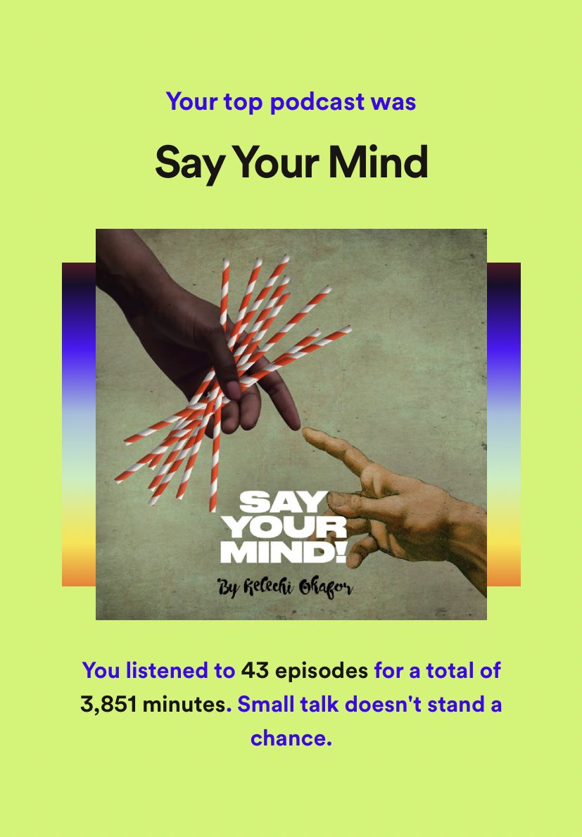 Damn right! Tuned into every episode @kelechnekoff @SayYourMindPod since episode one ♥️ followed closely by @galdemzine @daddyissuespc and the beaut @claraamfo podcasts 🎧 via @SpotifyUK 💫
