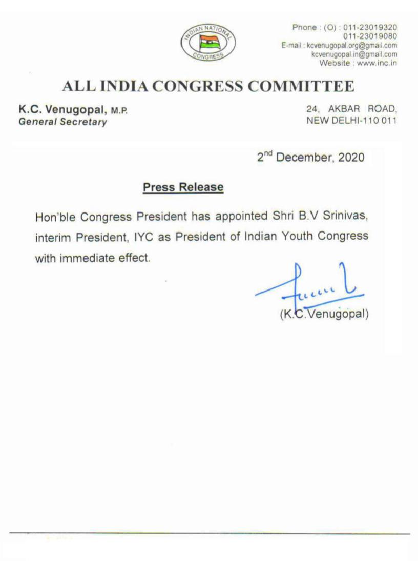 Many congratulations to @srinivasiyc bhaiya for being appointed as National President @IYC. Under your leadership & hard work, organization has worked efficiently. Best wishes for a long fight ahead.