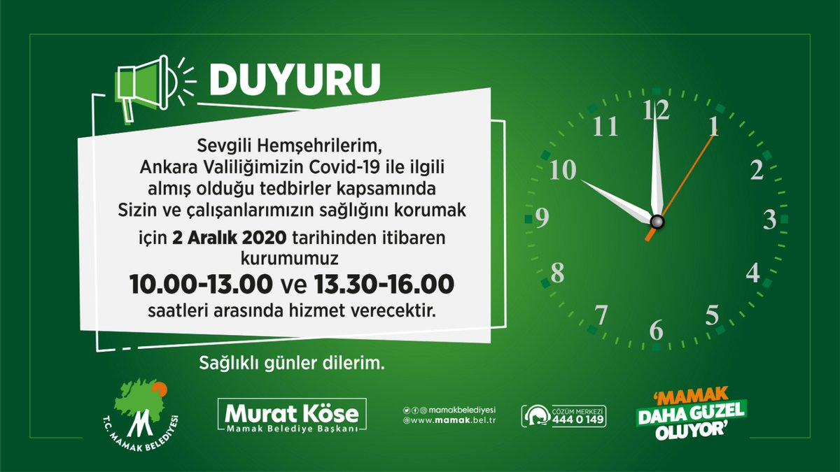 📢DUYURU  Sevgili Hemşehrilerimiz, Ankara Valiliğimizin Covid-19 ile ilgili almış olduğu tedbirler kapsamında;  Sizin ve çalışanlarımızın sağlığını korumak için 2 Aralık 2020 tarihinden itibaren kurumumuz ⏰10.00-13.00 ve 13.30-16.00 saatleri arasında hizmet verecektir. https://t.co/ga3Y9rA4Ie